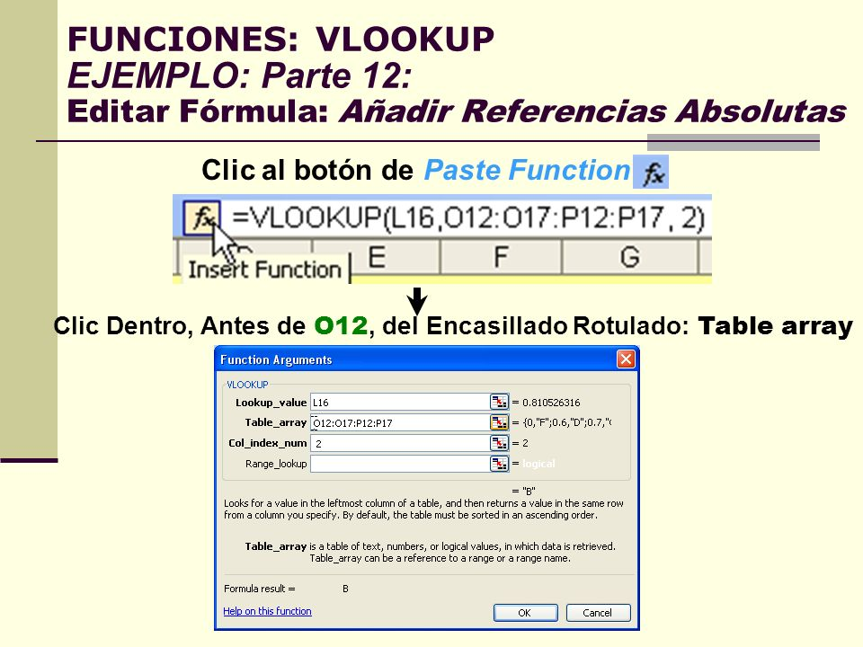 Clic al botón de Paste Function: