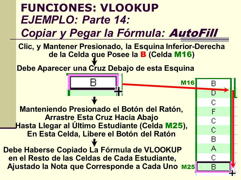 FUNCIONES: VLOOKUP EJEMPLO: Parte 14: Copiar y Pegar la Fórmula: AutoFill