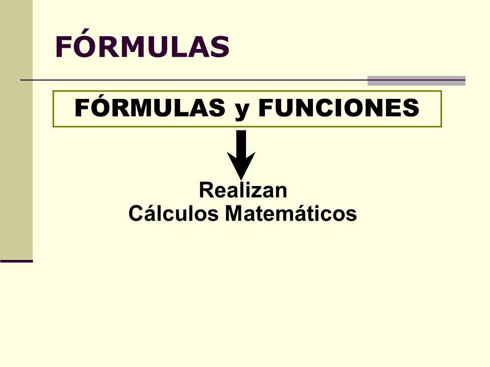 FÓRMULAS FÓRMULAS y FUNCIONES Realizan Cálculos Matemáticos