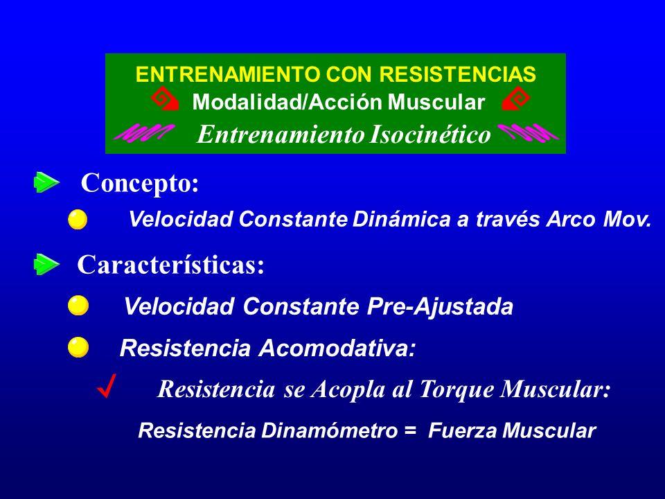 Concepto: Características: Entrenamiento Isocinético