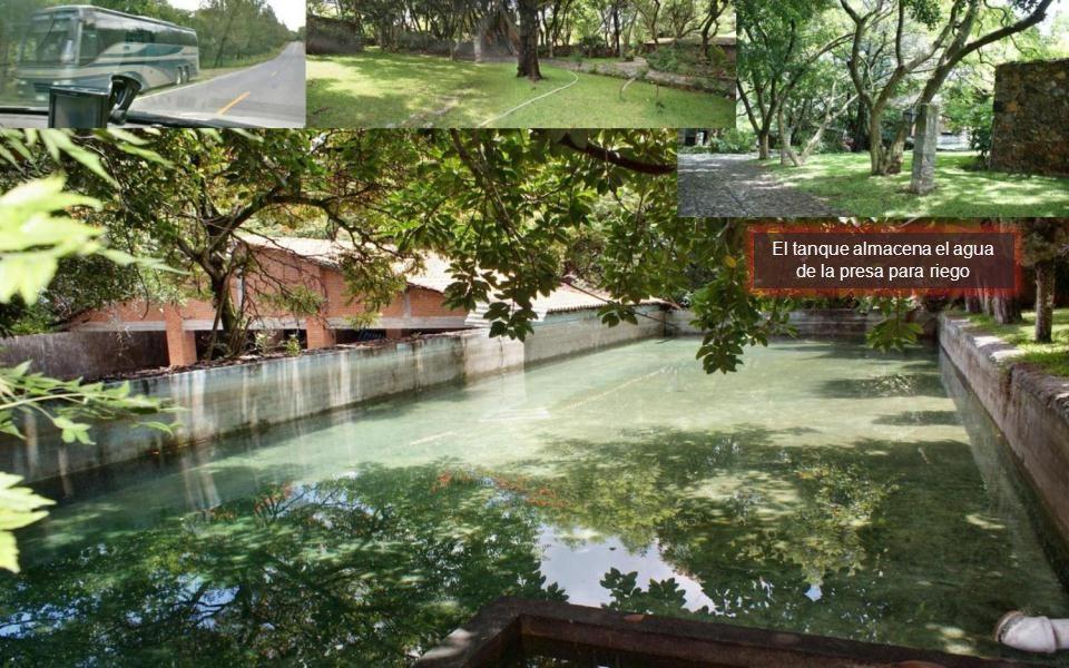 El tanque almacena el agua de la presa para riego