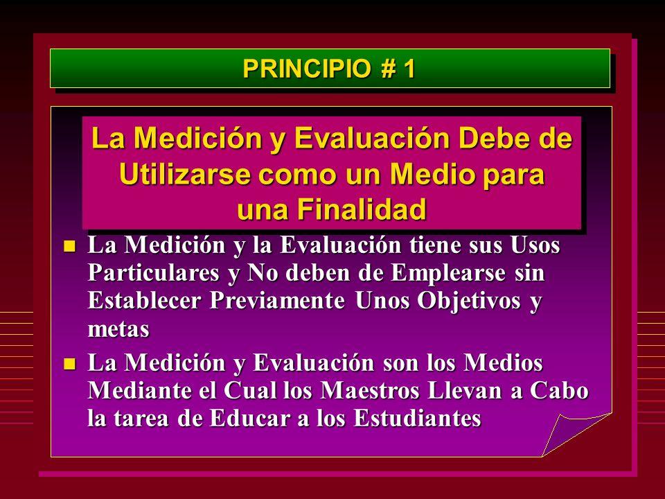 PRINCIPIO # 1 La Medición y Evaluación Debe de Utilizarse como un Medio para una Finalidad.