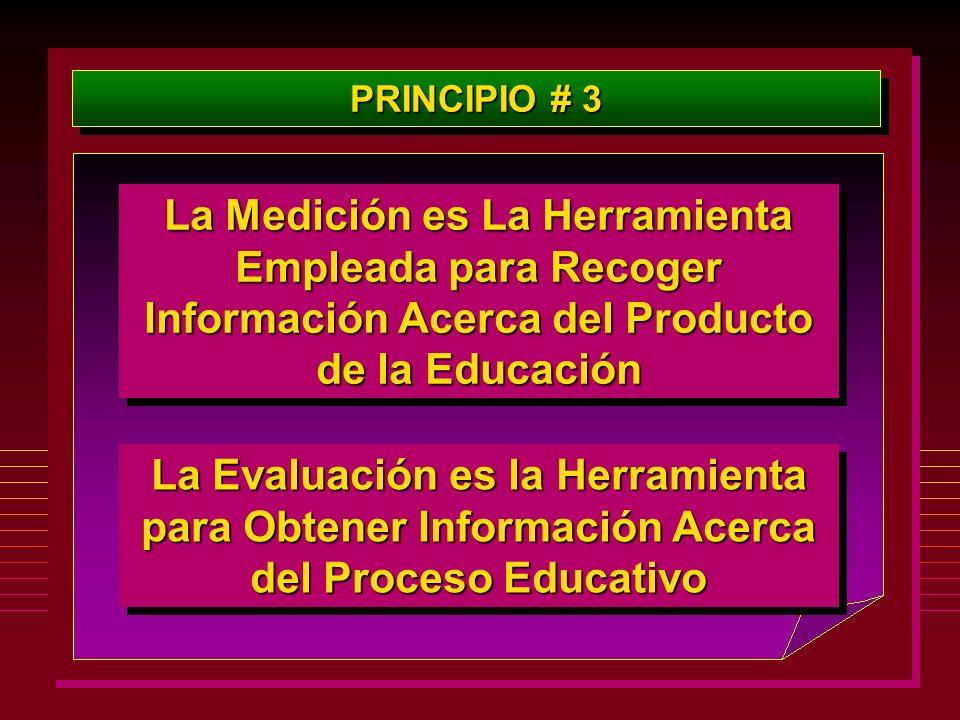 PRINCIPIO # 3 La Medición es La Herramienta Empleada para Recoger Información Acerca del Producto de la Educación.