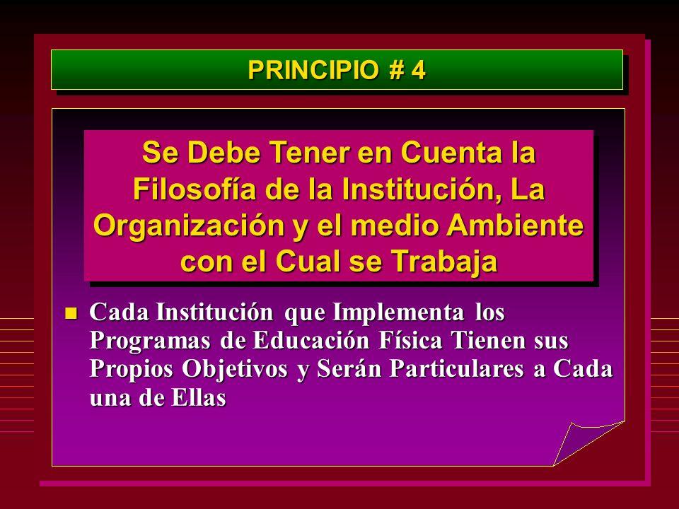 PRINCIPIO # 4 Se Debe Tener en Cuenta la Filosofía de la Institución, La Organización y el medio Ambiente con el Cual se Trabaja.
