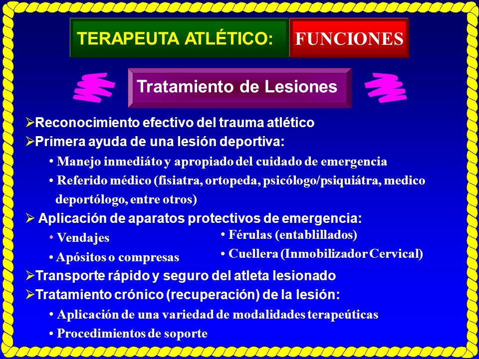 FUNCIONES TERAPEUTA ATLÉTICO: Tratamiento de Lesiones
