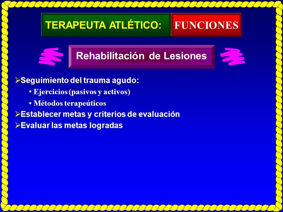 FUNCIONES TERAPEUTA ATLÉTICO: Rehabilitación de Lesiones