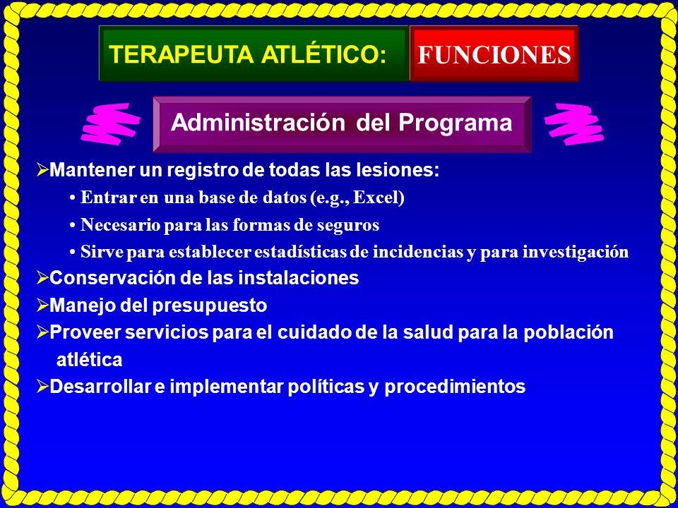 FUNCIONES TERAPEUTA ATLÉTICO: Administración del Programa
