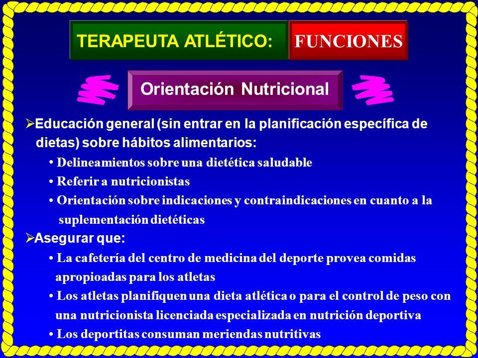FUNCIONES TERAPEUTA ATLÉTICO: Orientación Nutricional