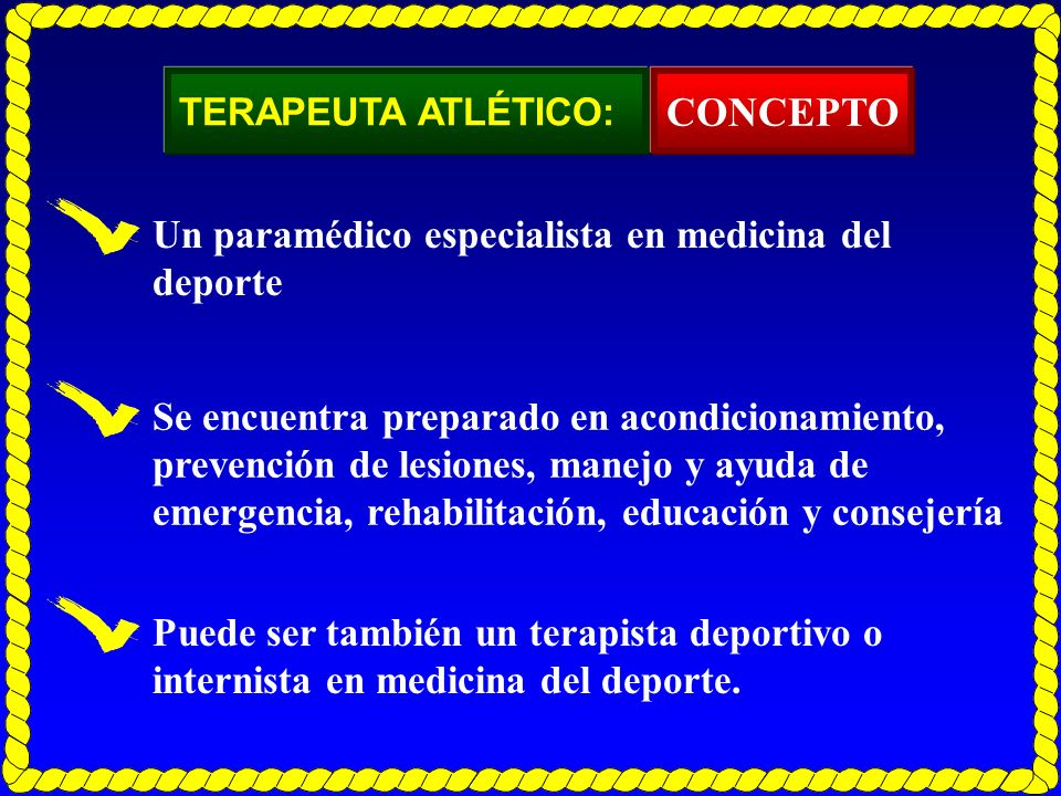 CONCEPTO Un paramédico especialista en medicina del deporte