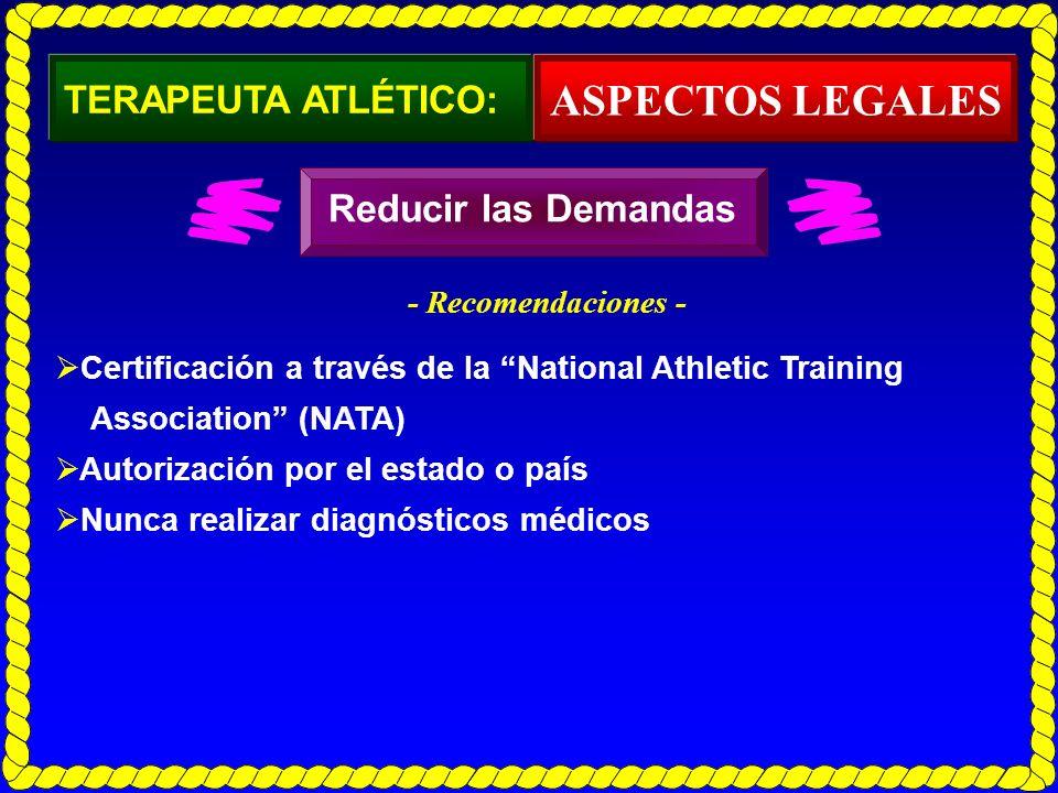 ASPECTOS LEGALES TERAPEUTA ATLÉTICO: Reducir las Demandas