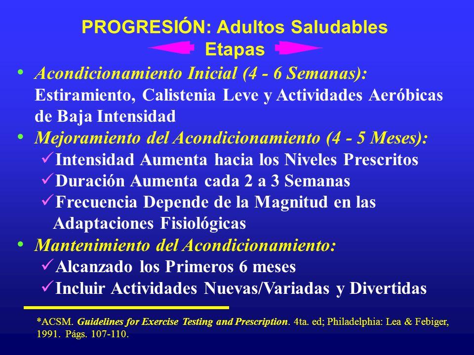PROGRESIÓN: Adultos Saludables Etapas