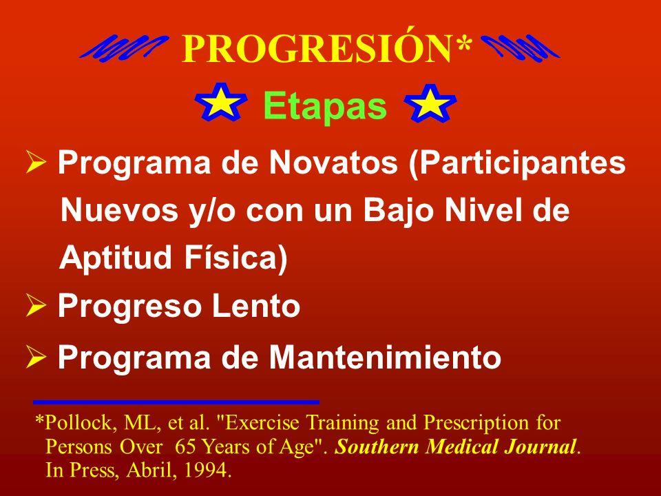 PROGRESIÓN* Etapas Programa de Novatos (Participantes