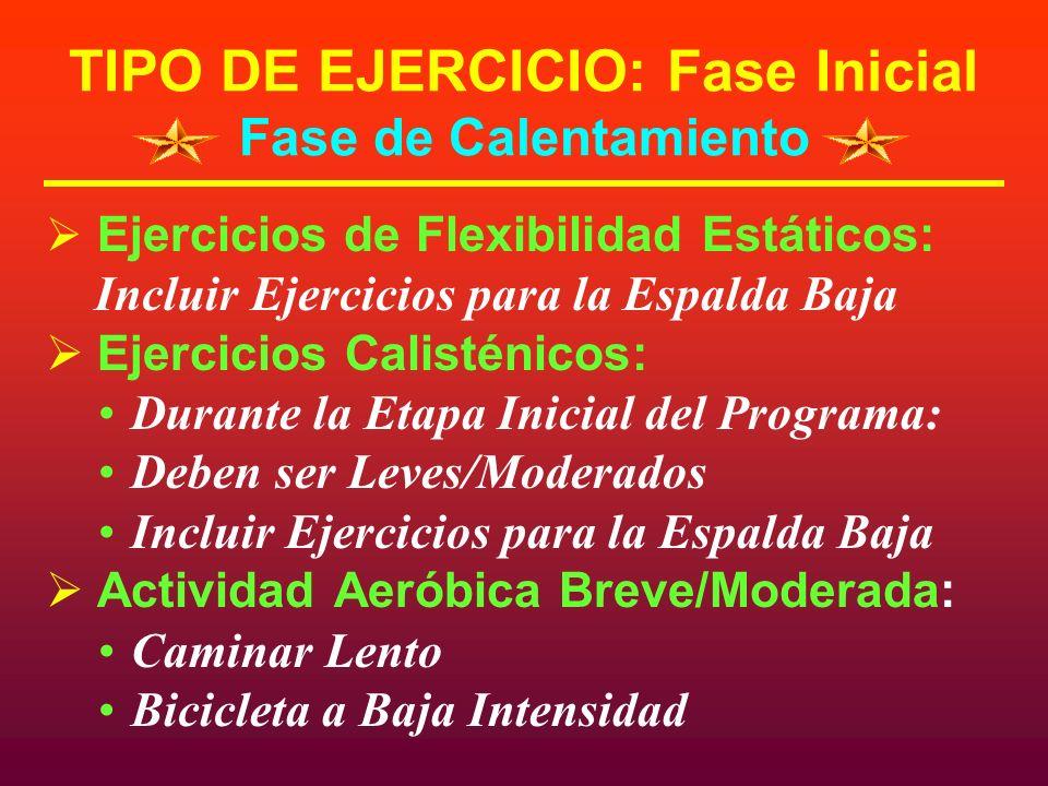 TIPO DE EJERCICIO: Fase Inicial Fase de Calentamiento