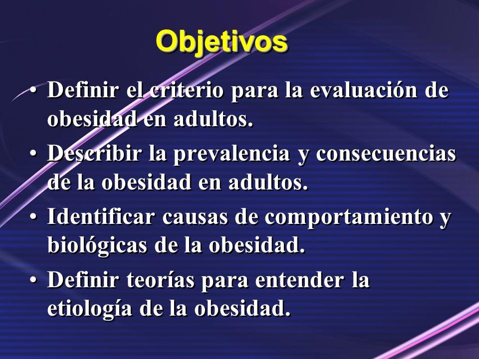 Objetivos Definir el criterio para la evaluación de obesidad en adultos. Describir la prevalencia y consecuencias de la obesidad en adultos.