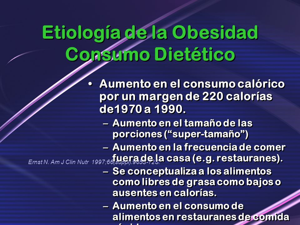 Etiología de la Obesidad Consumo Dietético