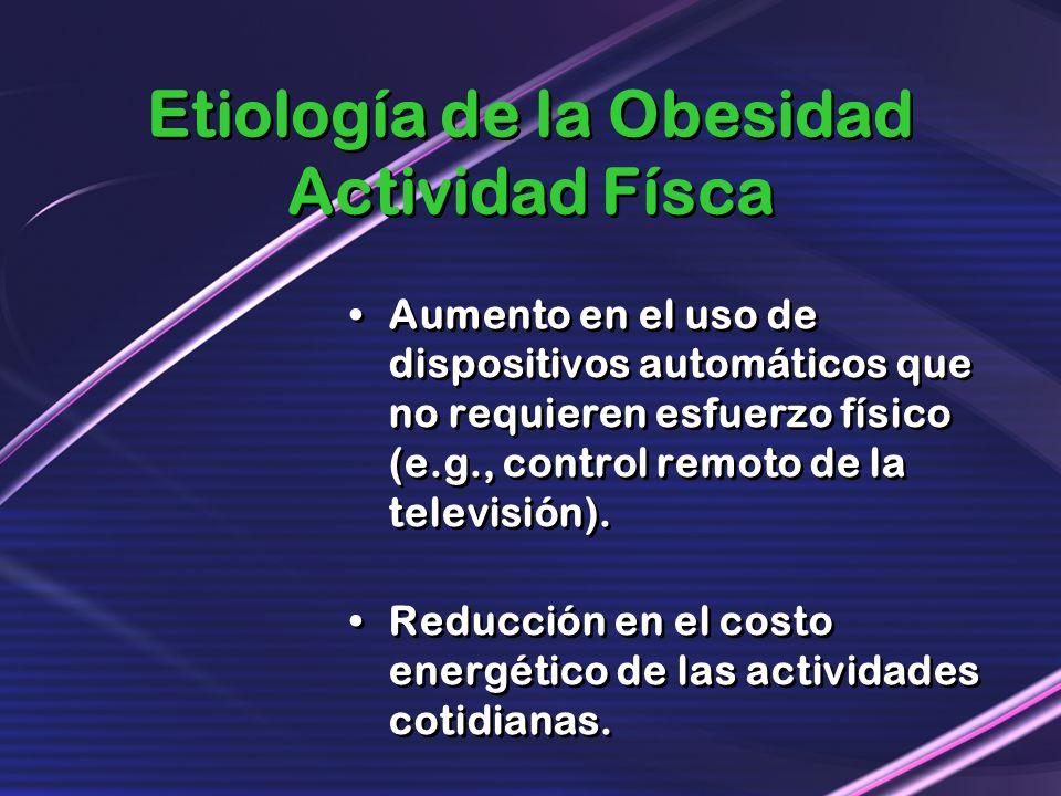 Etiología de la Obesidad Actividad Físca