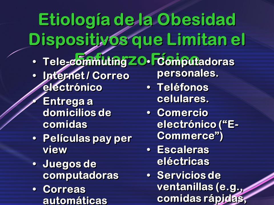 Etiología de la Obesidad Dispositivos que Limitan el Esfuerzo Físico