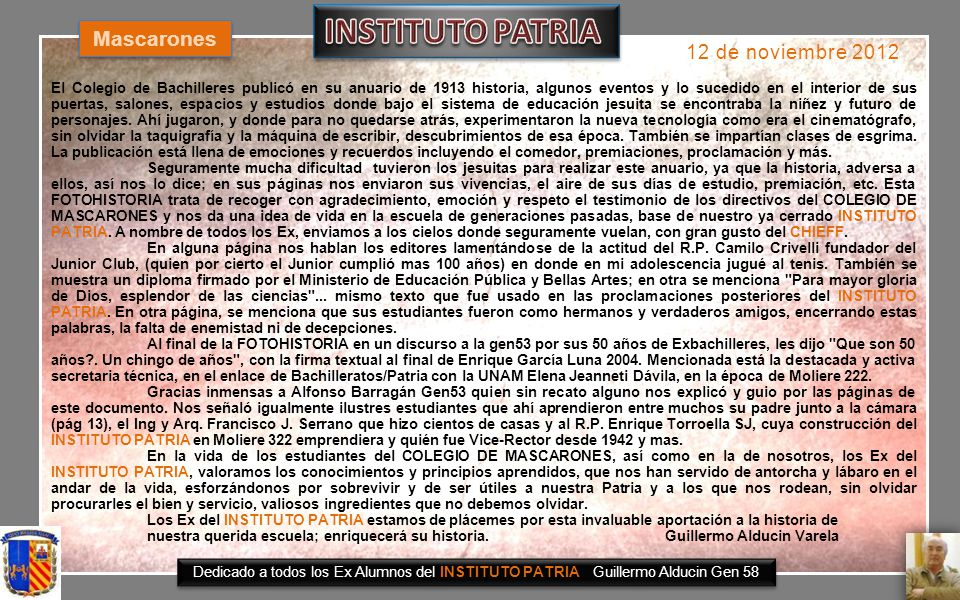 INSTITUTO PATRIA Mascarones 12 de noviembre 2012