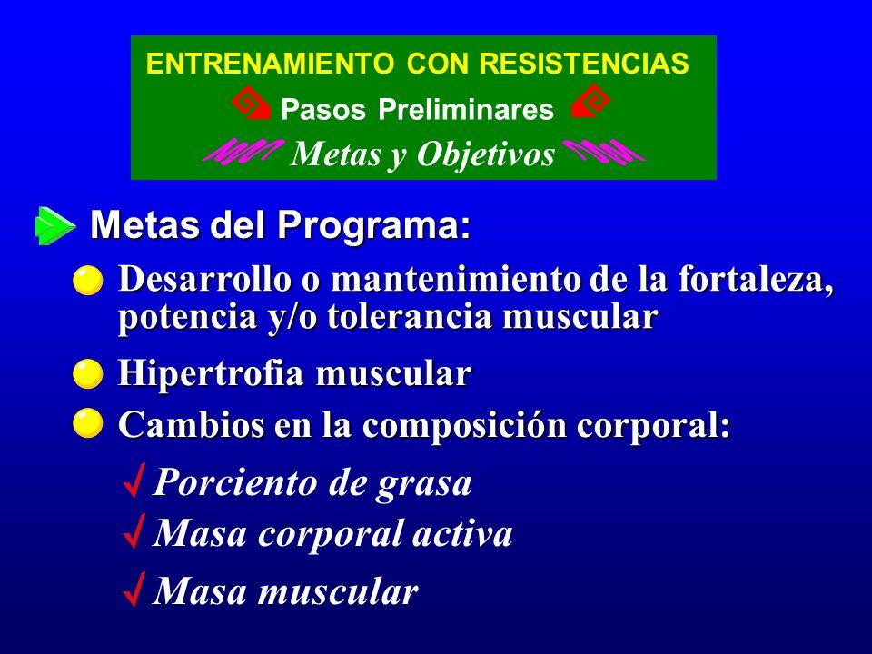 Porciento de grasa Masa corporal activa Masa muscular