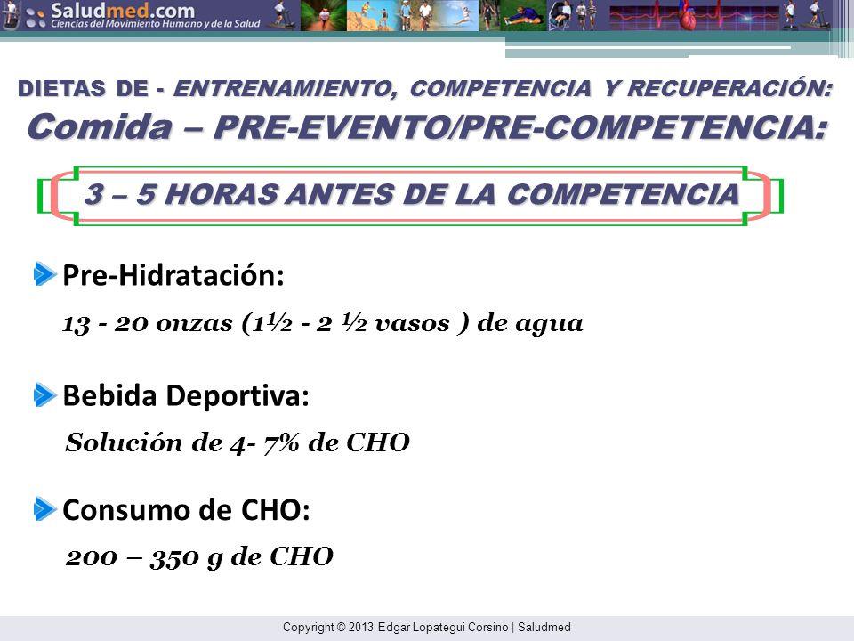 3 – 5 HORAS ANTES DE LA COMPETENCIA