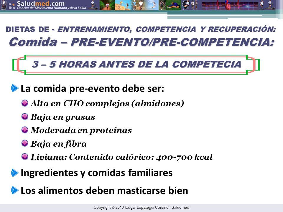 3 – 5 HORAS ANTES DE LA COMPETECIA