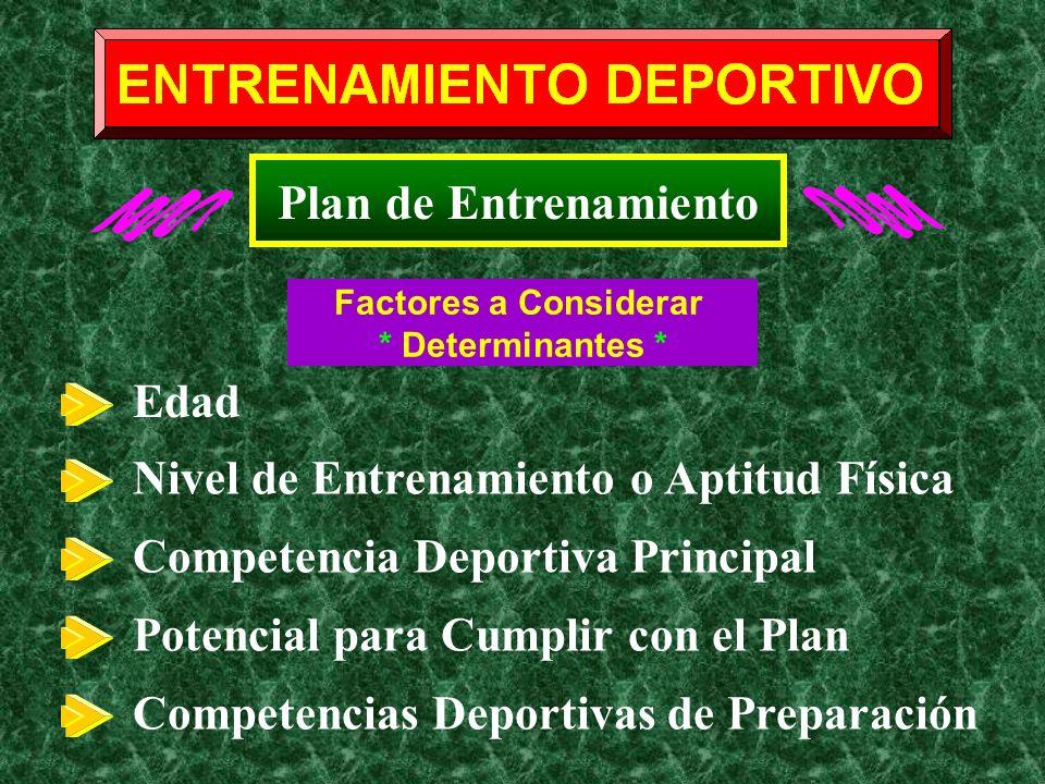 Plan de Entrenamiento Edad Nivel de Entrenamiento o Aptitud Física