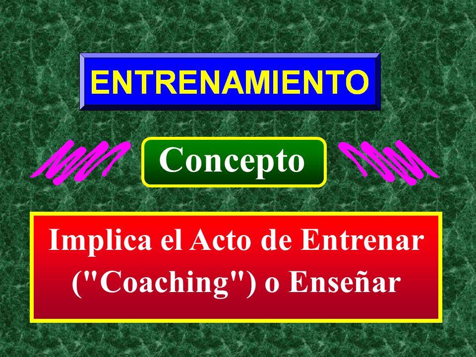 Implica el Acto de Entrenar ( Coaching ) o Enseñar