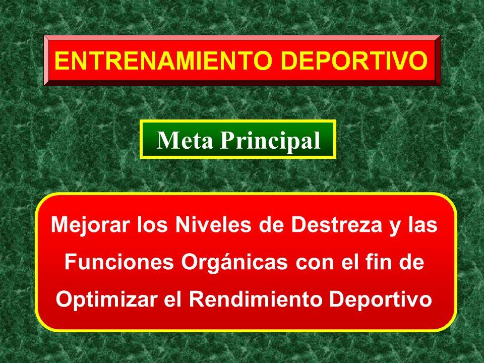 Meta Principal Mejorar los Niveles de Destreza y las Funciones Orgánicas con el fin de Optimizar el Rendimiento Deportivo.