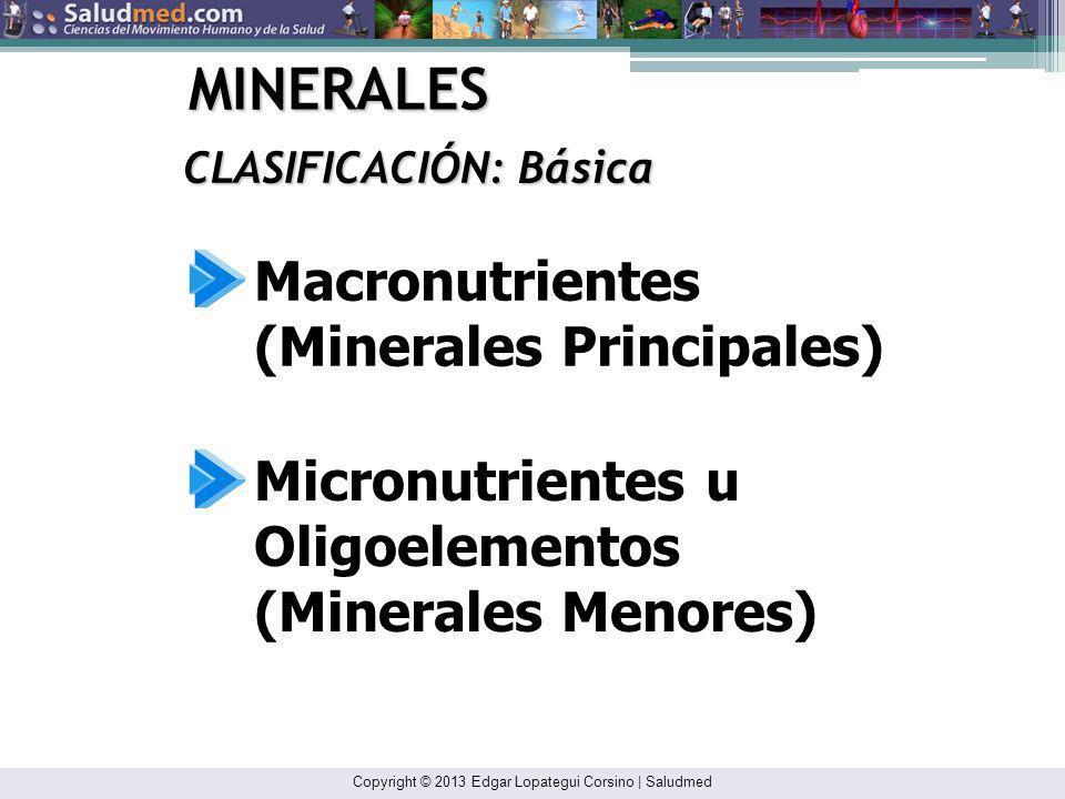 MINERALES Macronutrientes (Minerales Principales) Micronutrientes u
