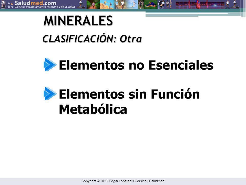 MINERALES Elementos no Esenciales Elementos sin Función Metabólica