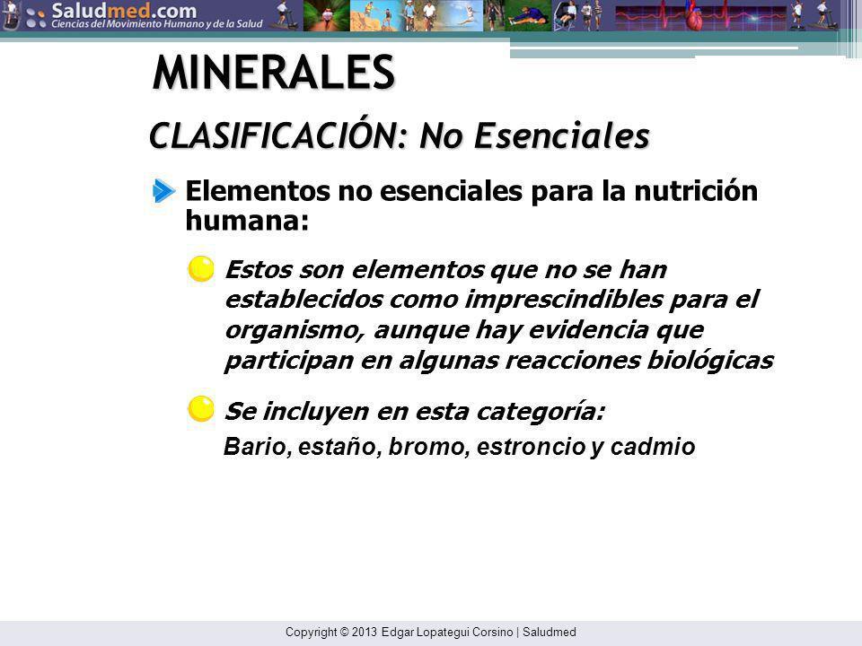 MINERALES CLASIFICACIÓN: No Esenciales