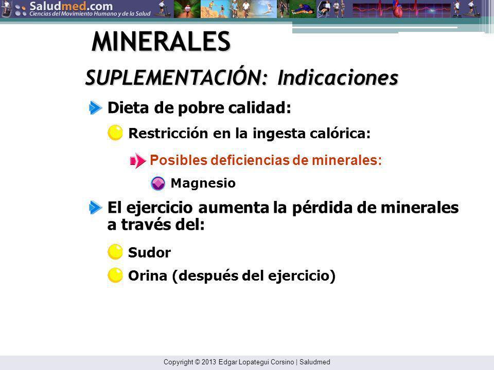 MINERALES SUPLEMENTACIÓN: Indicaciones Dieta de pobre calidad: