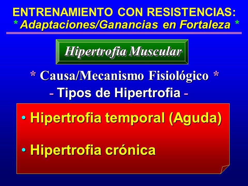 * Causa/Mecanismo Fisiológico * - Tipos de Hipertrofia -