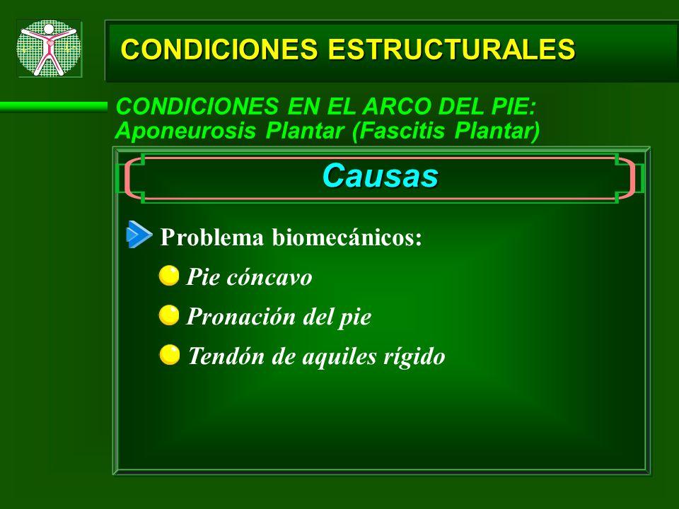 Causas CONDICIONES ESTRUCTURALES Problema biomecánicos: Pie cóncavo