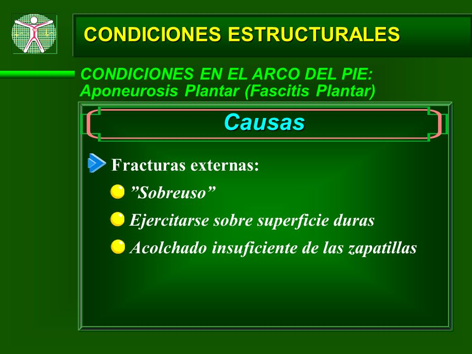 Causas CONDICIONES ESTRUCTURALES Fracturas externas: Sobreuso