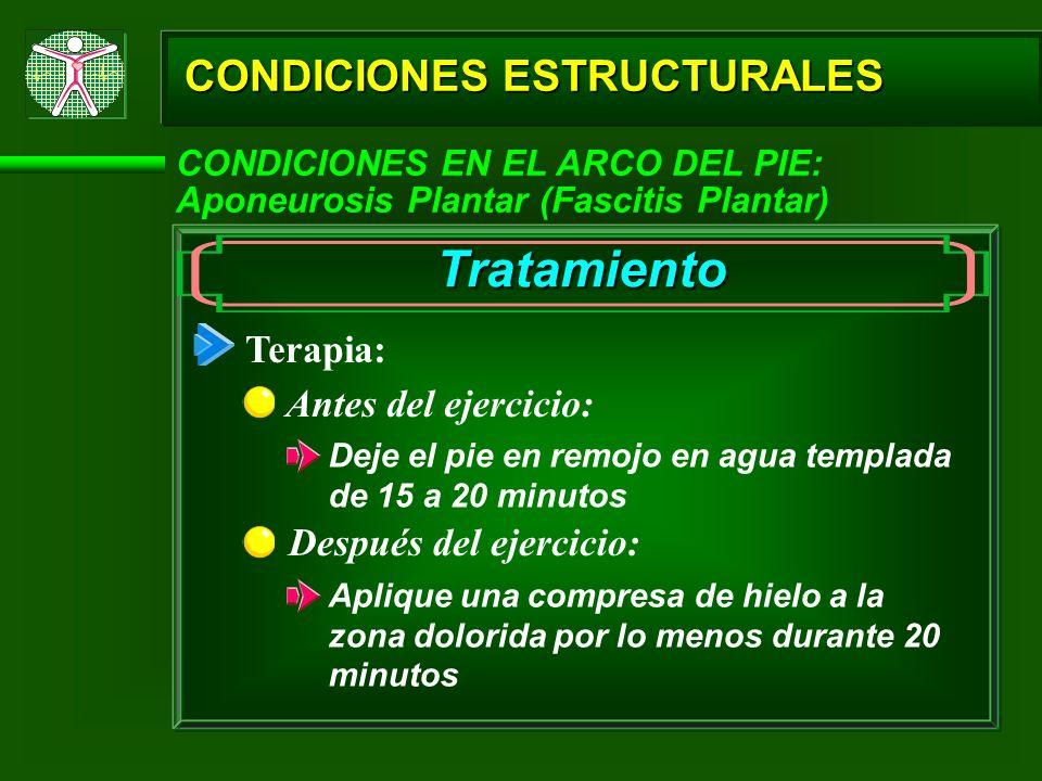 Tratamiento CONDICIONES ESTRUCTURALES Terapia: Antes del ejercicio: