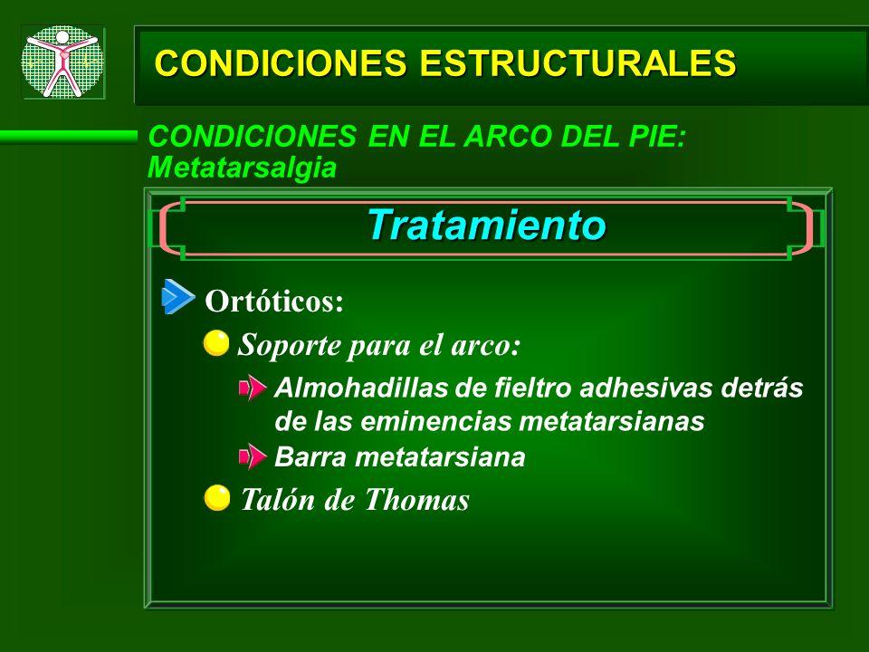 Tratamiento CONDICIONES ESTRUCTURALES Ortóticos: Soporte para el arco: