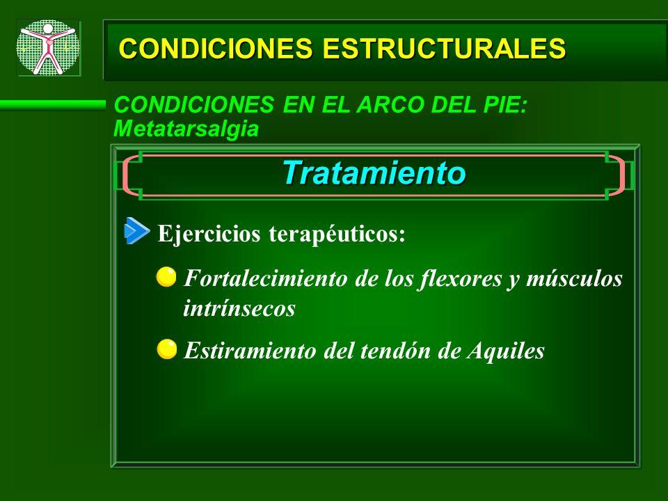 Tratamiento CONDICIONES ESTRUCTURALES Ejercicios terapéuticos: