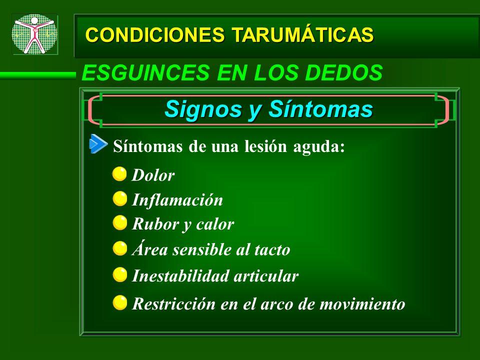 Signos y Síntomas ESGUINCES EN LOS DEDOS CONDICIONES TARUMÁTICAS