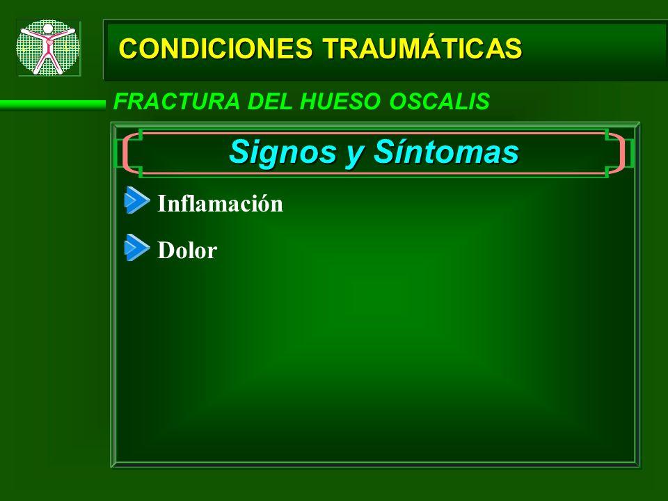 Signos y Síntomas CONDICIONES TRAUMÁTICAS Inflamación Dolor
