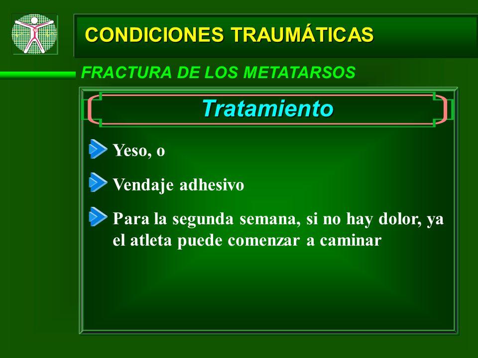 Tratamiento CONDICIONES TRAUMÁTICAS Yeso, o Vendaje adhesivo