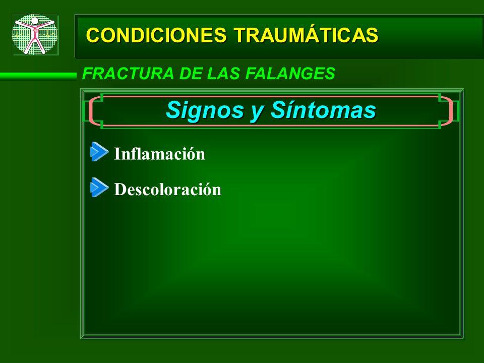 Signos y Síntomas CONDICIONES TRAUMÁTICAS Inflamación Descoloración