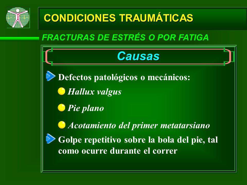 Causas CONDICIONES TRAUMÁTICAS Defectos patológicos o mecánicos: