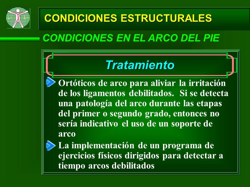 Tratamiento CONDICIONES ESTRUCTURALES CONDICIONES EN EL ARCO DEL PIE