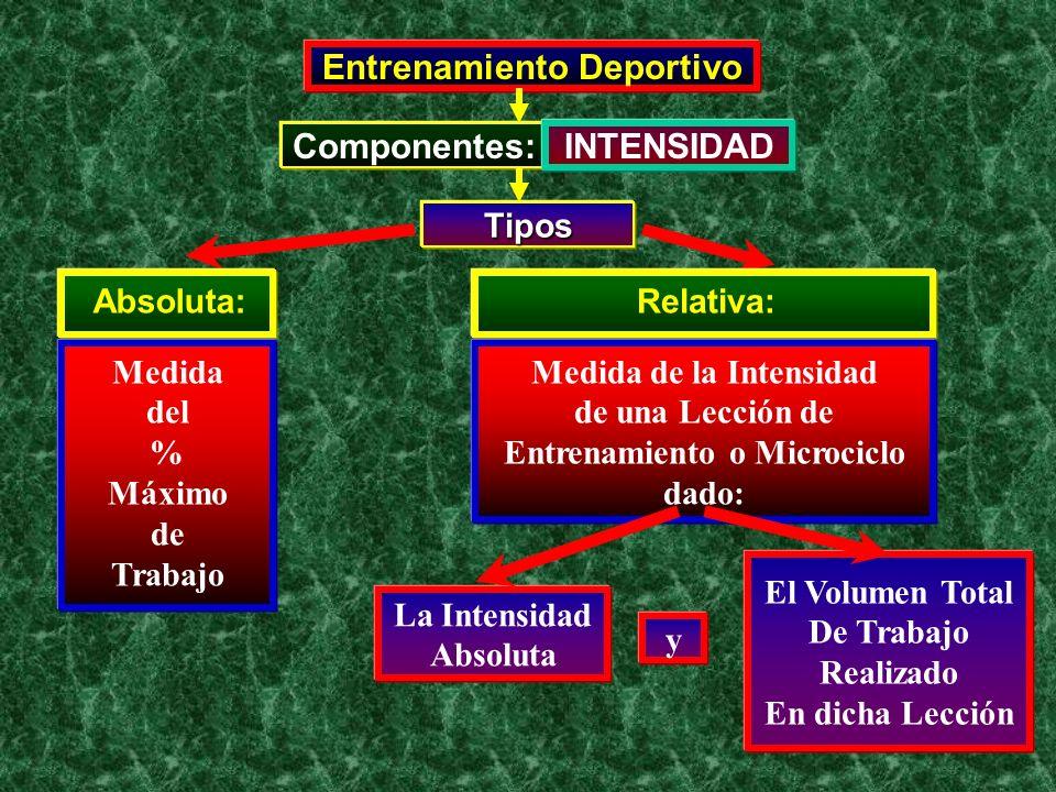 Entrenamiento Deportivo Componentes: INTENSIDAD