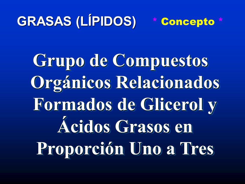* Concepto * GRASAS (LÍPIDOS) Grupo de Compuestos Orgánicos Relacionados Formados de Glicerol y Ácidos Grasos en Proporción Uno a Tres.