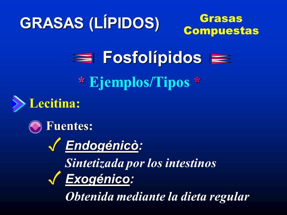 Fosfolípidos GRASAS (LÍPIDOS) * Ejemplos/Tipos * Lecitina: Fuentes: