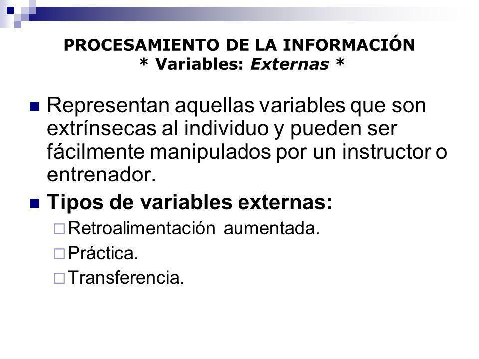 PROCESAMIENTO DE LA INFORMACIÓN * Variables: Externas *