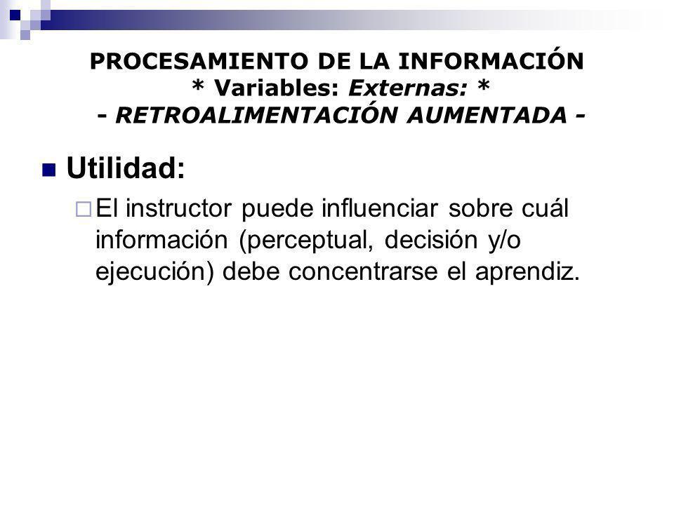 PROCESAMIENTO DE LA INFORMACIÓN. Variables: Externas: