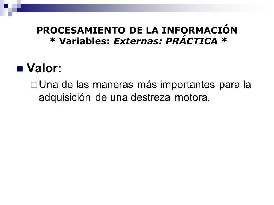 PROCESAMIENTO DE LA INFORMACIÓN * Variables: Externas: PRÁCTICA *